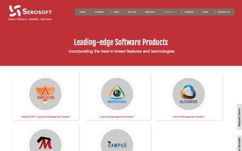 Screenshot of Products Page serosoft.in - Educational &  Campus Management Software: Academia ERP, Webguru, Alumnee, Test Master, CampusHire - captured Sept. 18, 2016