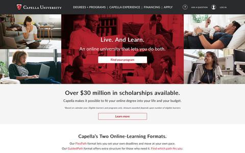 Screenshot of Home Page capella.edu - Capella University: Online Accredited Degree Programs - captured June 30, 2017