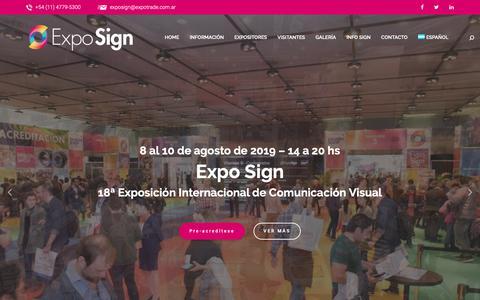 Screenshot of Home Page exposign.com.ar - Expo Sign - 17º Exposición Internacional de Comunicación Visual - captured Oct. 21, 2018