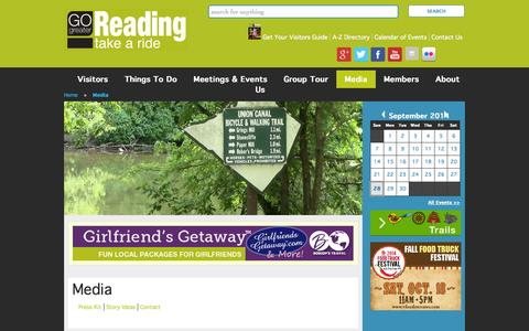 Screenshot of Press Page gogreaterreading.com - Media   Greater Reading Convention and Visitors Bureau - captured Sept. 30, 2014