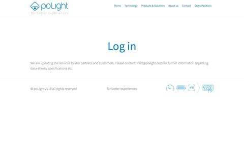 Screenshot of Login Page polight.com - poLight - for better experiences - captured July 9, 2016
