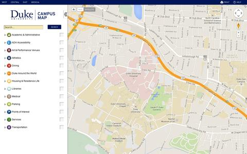 Screenshot of Maps & Directions Page duke.edu - Duke University Maps - captured Sept. 11, 2014