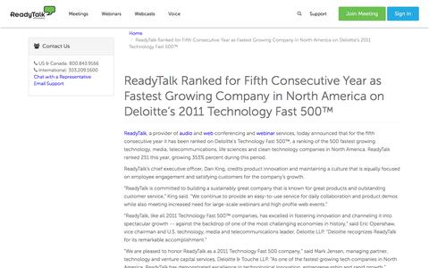 ReadyTalk Ranked for Fifth Consecutive Year as Fastest Growing Company in North America on Deloitte's 2011 Technology Fast 500™ | ReadyTalk