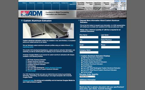 Screenshot of Landing Page americandouglasmetals.com - Custom Aluminum Extrusion | American Douglas Metals - captured Oct. 27, 2014
