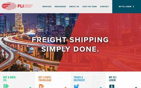 Screenshot of Home Page fliinc.net - Home - FLI Transportation + Logistics - captured Nov. 6, 2018