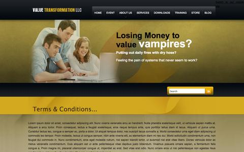 Screenshot of Terms Page valuetransform.com - Terms & Conditions | Value Transformation - captured Oct. 27, 2014