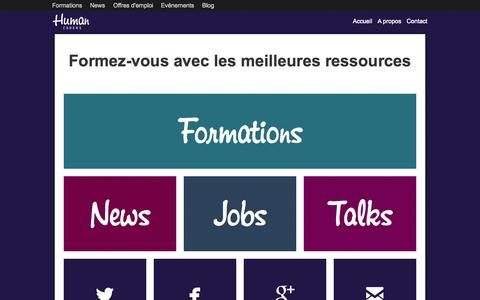 Screenshot of Home Page humancoders.com - Human Coders, formations pour développeurs - captured Sept. 25, 2014