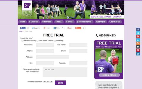 Screenshot of Trial Page enlitefitness.com - FREE TRIAL » Enlite Fitness - captured Sept. 30, 2014