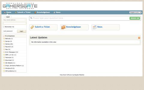 Screenshot of Support Page gamersgate.com - GamersGate - Powered by Kayako Resolve Help Desk Software - captured Sept. 18, 2014