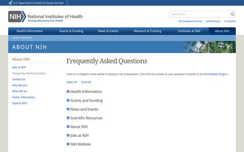 Screenshot of FAQ Page nih.gov - Frequently Asked Questions | National Institutes of Health (NIH) - captured Aug. 19, 2016