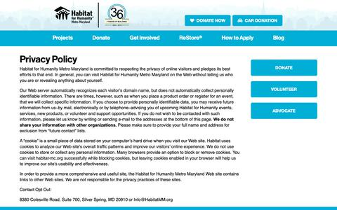Screenshot of Privacy Page habitatmm.org - Privacy Policy- Habitat for Humanity Metro Maryland - captured Dec. 14, 2018