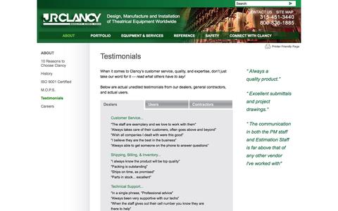 Screenshot of Testimonials Page jrclancy.com - About J.R. Clancy - What Our Dealers Say About Us - captured Feb. 4, 2016