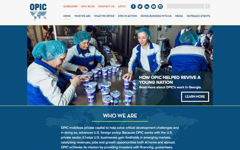 Screenshot of Home Page opic.gov - OPIC : Overseas Private Investment Corporation - captured Oct. 1, 2015