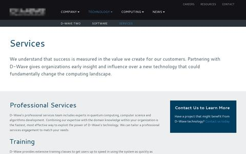 Screenshot of Services Page dwavesys.com - Services | D-Wave Systems - captured July 18, 2014