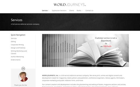 Screenshot of Services Page wordjourneys.com - Editorial Services - Word Journeys - captured June 14, 2016