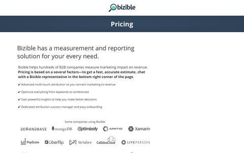 Screenshot of Pricing Page bizible.com - Bizible Pricing - captured April 8, 2017