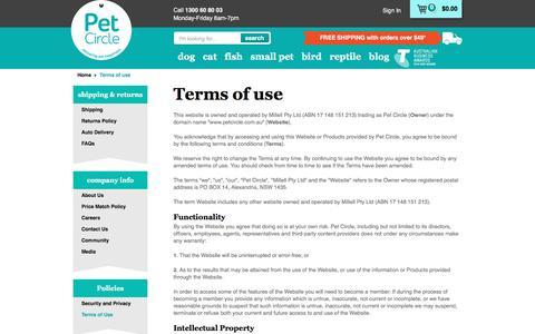 Screenshot of Terms Page petcircle.com.au - Terms of use | Pet Circle - captured Aug. 2, 2016
