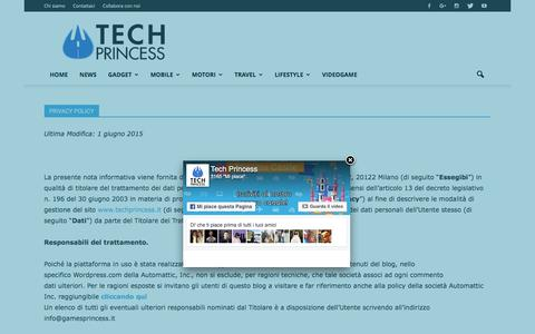 Screenshot of Privacy Page techprincess.it - Privacy Policy | Tech Princess - captured Aug. 13, 2016