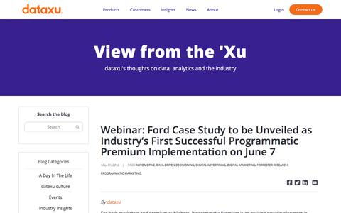 Screenshot of Case Studies Page dataxu.com - Webinar: Ford Case Study to be Unveiled as Industry's First Successful Programmatic Premium Implementation on June 7 - dataxu, inc. - captured Nov. 18, 2019