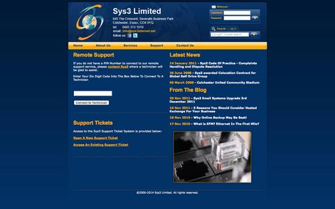 Screenshot of Support Page sys3.com - Sys3 Remote Support - captured Oct. 9, 2014