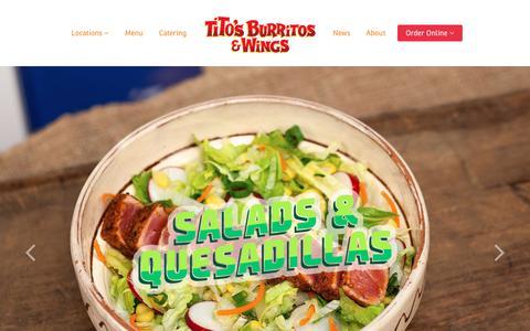 Screenshot of Home Page titosburritos.com - Tito's Burritos and Wings - captured June 19, 2017