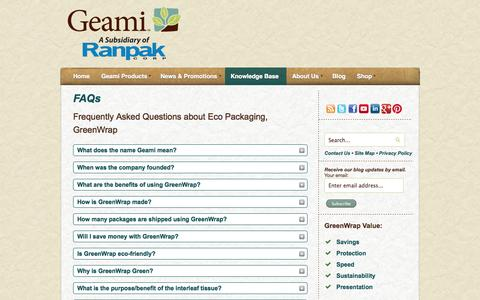 Screenshot of FAQ Page geami.com - Eco Packaging | Frequently Asked Questions | GreenWrap - captured Sept. 29, 2014