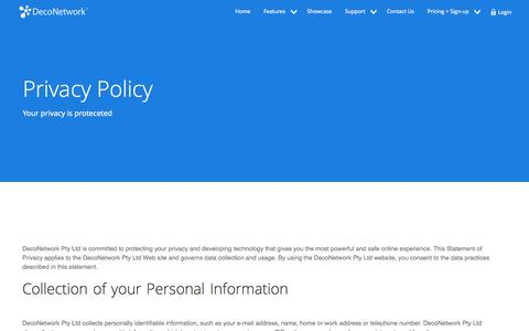 Screenshot of Privacy Page deconetwork.com - Privacy and Cookie Policy - captured Oct. 10, 2014