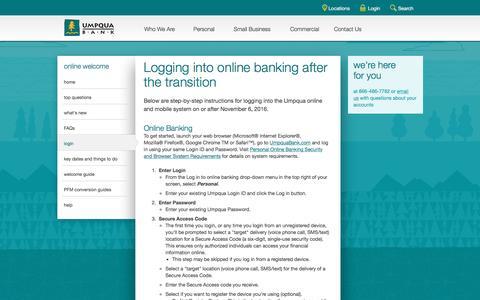 Screenshot of Login Page umpquabank.com - login - captured Nov. 9, 2016