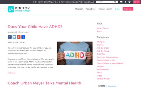 Screenshot of Blog doctorondemand.com - Does Your Child Have ADHD? - captured Sept. 18, 2016