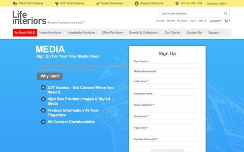 Screenshot of Press Page lifeinteriors.ae - Lifeinteriors Dubai Media registration - captured Aug. 6, 2017