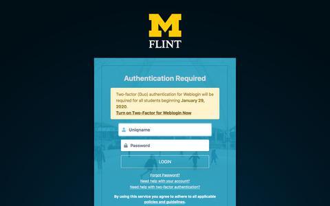 Screenshot of Login Page umflint.edu - Weblogin | University of Michigan-Flint - captured Jan. 17, 2020