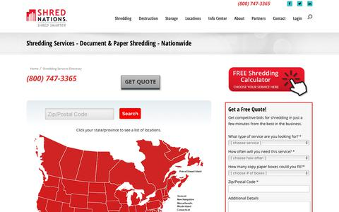 Screenshot of Locations Page shrednations.com - Shredding Services - Document & Paper Shredding - Nationwide - captured July 29, 2018