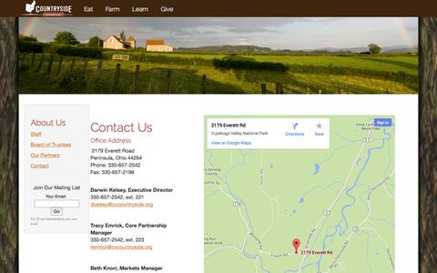 Screenshot of Contact Page cvcountryside.org - About Us - Contact - Countryside Conservancy - captured Oct. 3, 2014