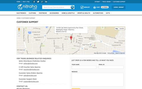 Screenshot of Contact Page nitraha.com - Contact Us - Nitraha.com | Best online Shopping website in  India - captured Oct. 26, 2014