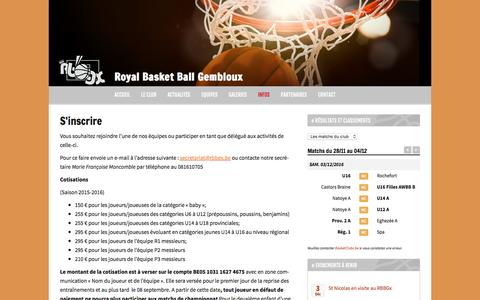 Screenshot of Signup Page rbbgx.be - S'inscrire | Royal Basket Ball Gembloux - captured Dec. 3, 2016