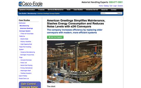 Screenshot of Case Studies Page cisco-eagle.com - Quiet Conveyor System for American Greetings | Cisco-Eagle - captured Jan. 5, 2017