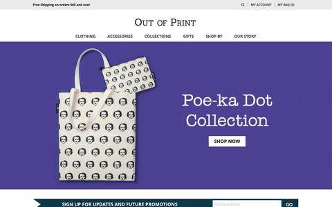 Screenshot of Home Page outofprintclothing.com - Out of Print - captured Jan. 22, 2015