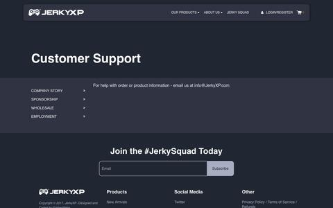 Screenshot of Support Page jerkyxp.com - Customer Support            – JerkyXP - captured Sept. 19, 2017