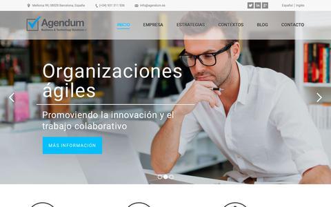 Screenshot of Home Page agendumsolutions.com - Entornos de trabajo colaborativo | Agendum Solutions Barcelona - captured July 29, 2018