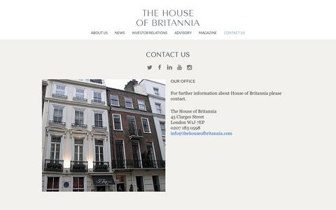 Screenshot of Contact Page thehouseofbritannia.com - Contact Us | The House of Britannia - captured Dec. 16, 2016