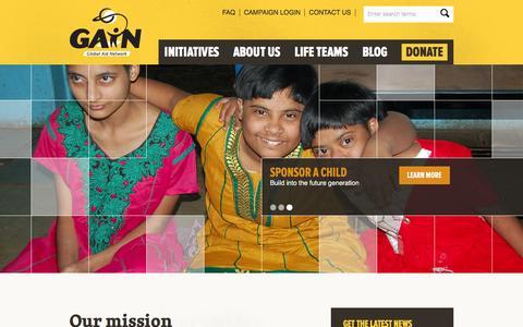 Screenshot of Home Page globalaid.net - Global Aid Network - captured Jan. 28, 2016