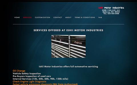 Screenshot of Services Page 141motors.com - Services — Ishii Motor Industries - captured Oct. 6, 2014