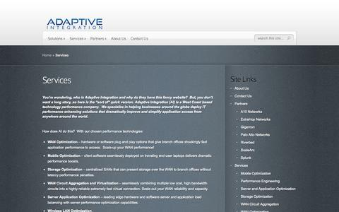 Screenshot of Services Page adaptivei.net - Services | Adaptive Integration - captured Oct. 4, 2014