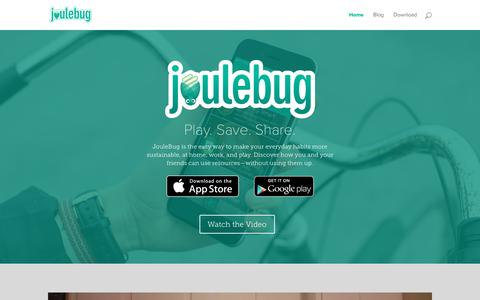 Screenshot of Home Page joulebug.com - JouleBug - Sustainability App - captured Jan. 9, 2016
