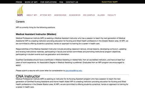 Screenshot of Jobs Page mpi.edu - Career Opportunities, Jobs at Medical Professional Institute - captured Oct. 27, 2014