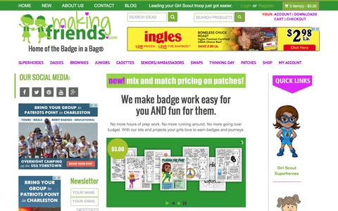Screenshot of Home Page makingfriends.com - MakingFriends.com - Girlscouts Patches Badge-In-A-Bag Kids CraftsMakingFriends | Leading your Girl Scout troop just got easier. - captured Aug. 22, 2016
