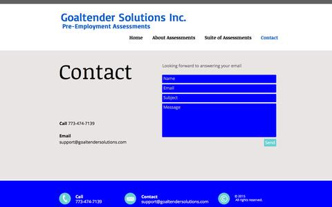 Screenshot of About Page Contact Page goaltendersolutions.com - newgsi | Contact - captured Nov. 10, 2016