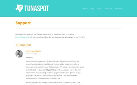 Screenshot of Support Page tunaspot.com - Tunaspot  » Support - captured Sept. 13, 2014