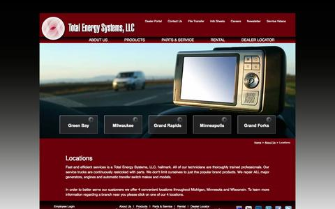 Screenshot of Locations Page totalenergysystems.com - Total Energy Systems, LLC - captured Oct. 7, 2014