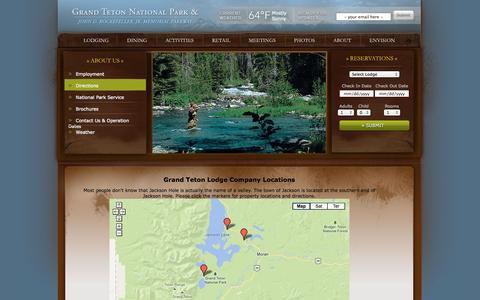 Screenshot of Maps & Directions Page gtlc.com - Lodging Near Grand Teton National Park Map | National Parks Map | GTLC - Grand Teton Lodge Company - captured Sept. 22, 2014